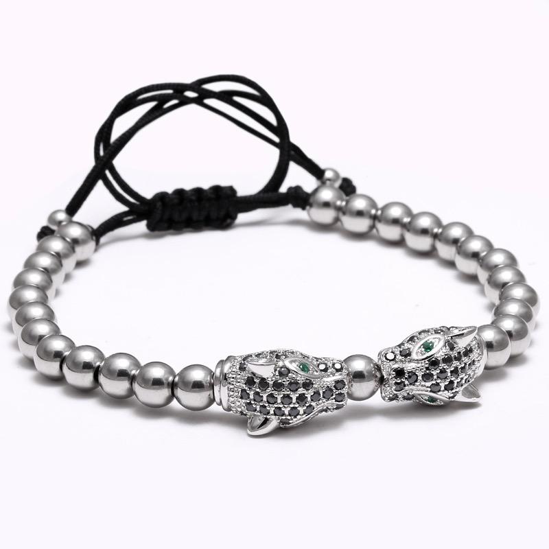 Designarmband Leopard, Silver