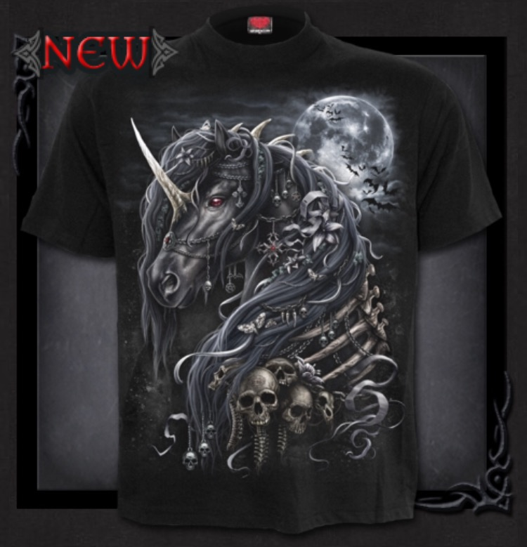 T-shirt, Spiral, Dark Unicorn