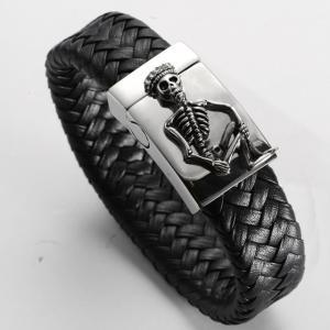 Döskallearmband i rostfritt stål och läder, Skelett