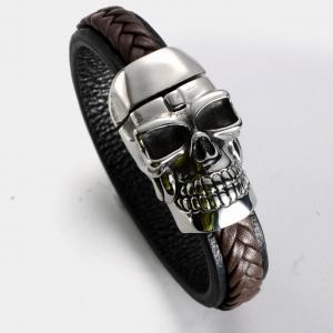 Armband i rostfritt stål o Läder, Brun/Svart