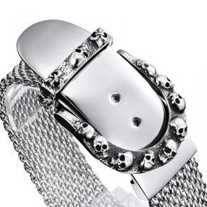 Exklusivt armband i rostfritt stål, Dödskalle Silver Bälte