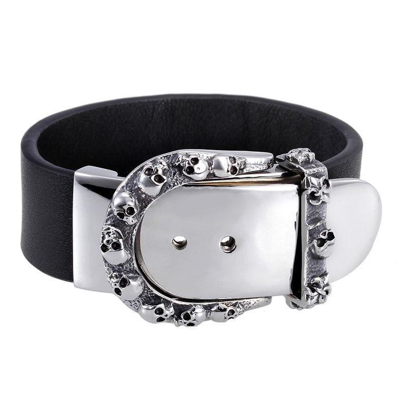 Exklusivt armband i rostfritt stål/Läder, Dödskalle Bälte