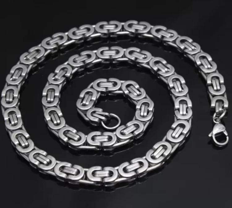 Halsbandslänk i rostfritt stål, 6 mm
