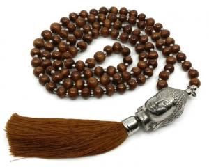 Mala Halsband - Buddha 108 pärlor, Brunt