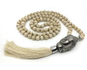 Mala Halsband - Buddha 108 pärlor, Offwhite