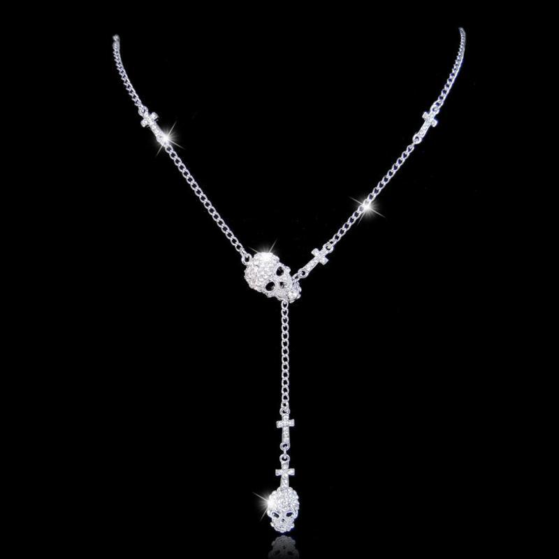 Döskalle Halsband med kors Silver 75 cm