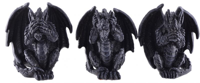 Dekorationer 3-pack, Drakar Black