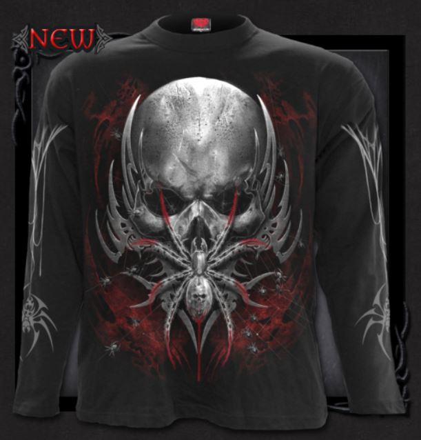 T-shirt, Långärmad,Spiral, Spider Skull