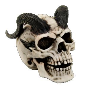 Döskalle Dekoration Black horn