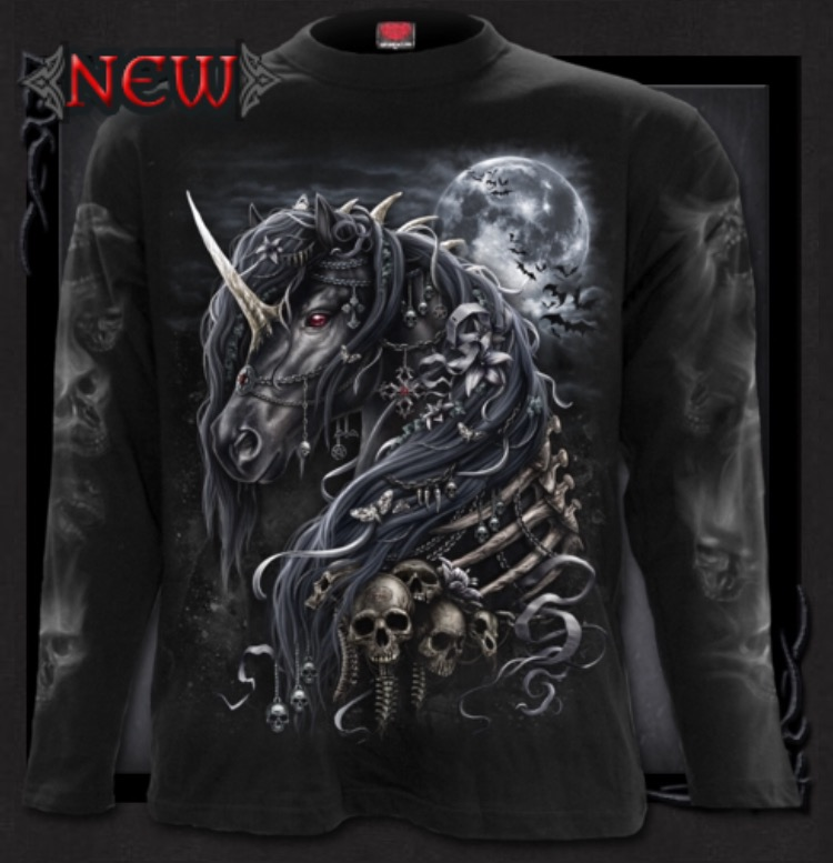 T shirt, Långärmad, Spiral, Dark Unicorn