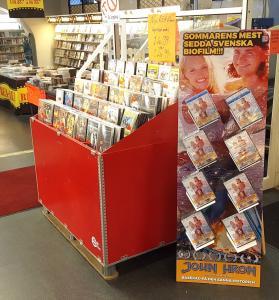 Dvd, musik, bok standee