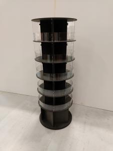 Golvdisplay rund  Höjd 1600 mm  med 5 hyllor 60 mmm i diamater