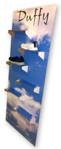 Standee med hyllor för skor mm  600x1580