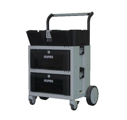 Rupes polervagn med två lådor med eluttag.