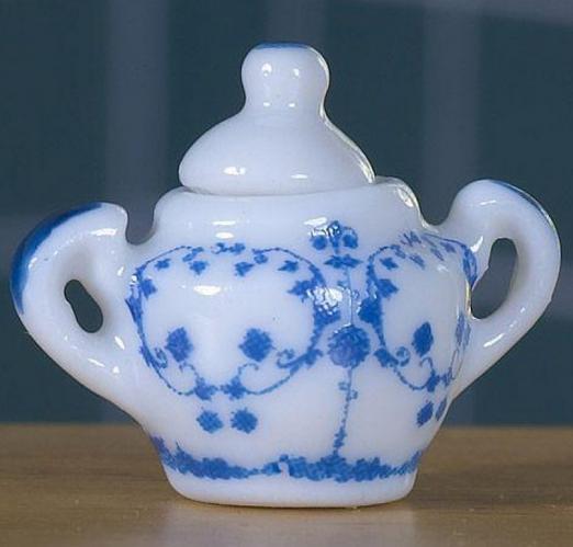 Delft Sockerskål i blåvitt