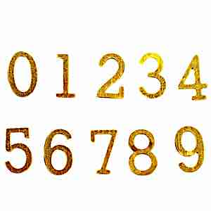 Dörr-siffror 0 till 9 mässing