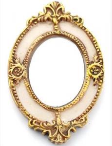 Spegel guld vit dekor