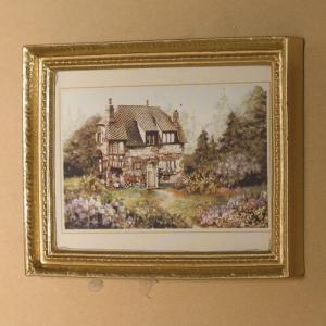 1 st Tavla engelskt cottage litet hus i landskap