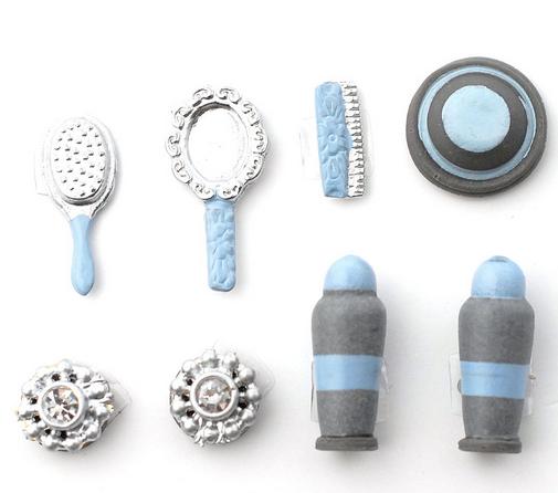 Badrumsset 8 delar sminkset toalettartiklar  blått och silver
