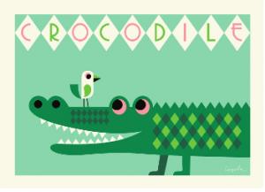 Affisch poster KROKODIL the crocodile Ingela Arrhenius