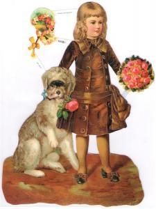 Bokmärken barn pojke hund retro