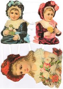 Bokmärken 3 barn flickor retro