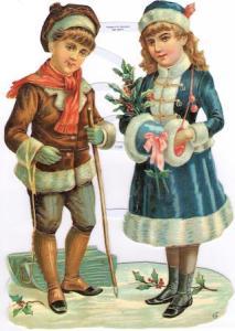 Bokmärken 2 barn flicka pojke retro