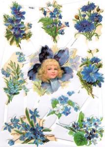 Bokmärken barn blommor blå retro