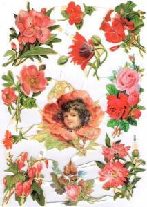 Bokmärken barn blommor röda retro