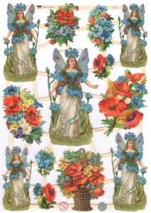 Bokmärken blomflickor blå retro