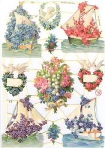 Bokmärken blommor båtar retro