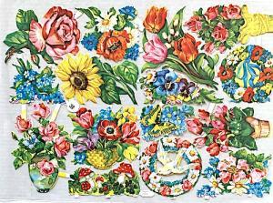 Bokmärken blommor duvor retro