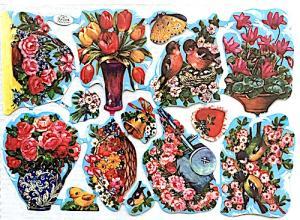 Bokmärken blommor fåglar hjärtan retro 60-70-tal