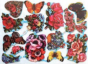 Bokmärken fjärilar blommor retro