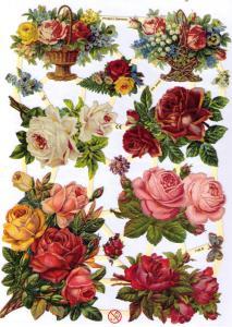 Bokmärken blommor 6 rosor