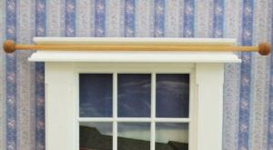 2 st gardinstänger gardinstång i trä med knoppar 14,5 cm