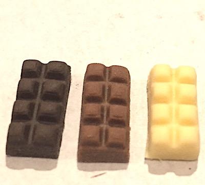 3 mjölkchoklad, vit choklad, mörk choklad godis