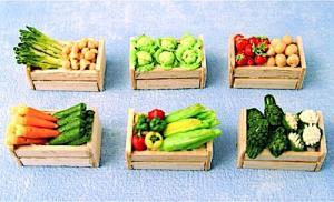 6 st Grönsaker i lådor