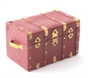 "Koffert kista i brunt ""skinn"" öppningsbar"