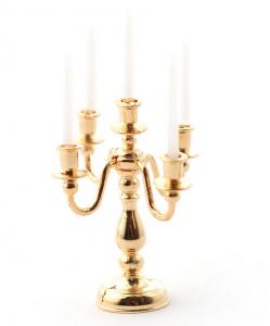 5-armad kandelaber ljusstake guld inkl ljus