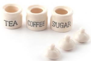 3 st Burkar kaffe socker te i porslin