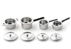 4 st kastruller silvermetall