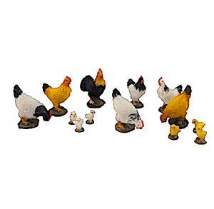13 st Hönor tupp och kycklingar