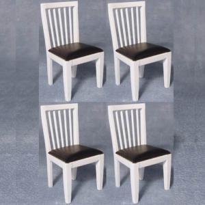 4 st stolar stol köksstol med svart mjuk sits