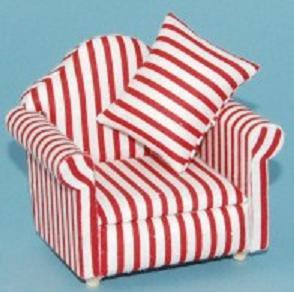 Fåtölj röd-vit randig stoppad, textil
