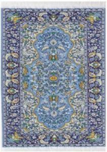 Matta orientalisk äkta matta ljusblå benvit gul mörkblå 29,5 x 20