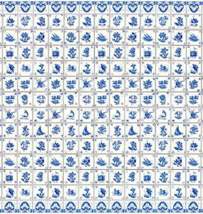 Kakel-ark Delft m embossed plattor blå-vit
