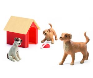 Djeco 3 st hundar och hundkoja