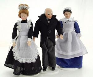 3 st dockor betjänt, husa och jungfru tjänstefolk