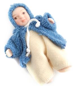 Baby småbarn m blå jacka